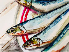 Sardines on a plate SOLD