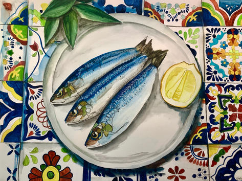 Sardines and coloured tiles