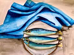 Sardines and Blue Towel