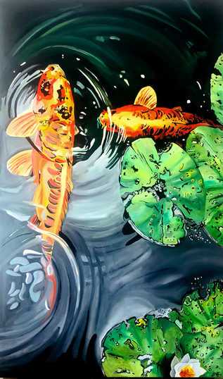 Koi with green leaves SOLD