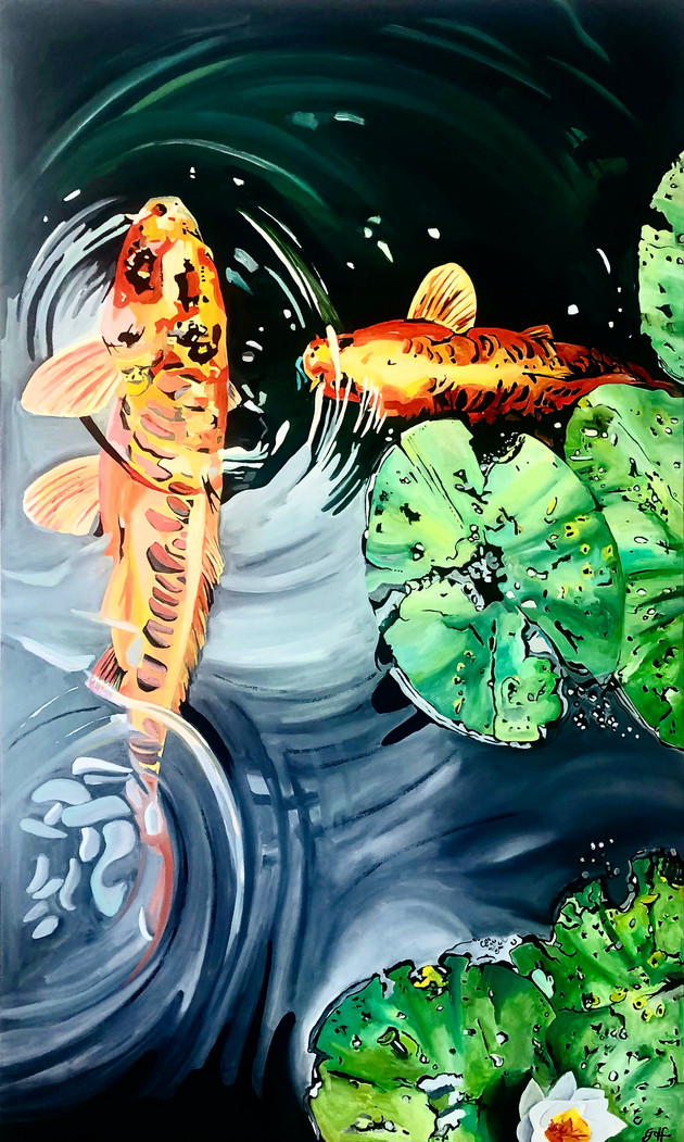 Koi with green leaves