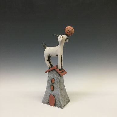 Goat on House with Ball
