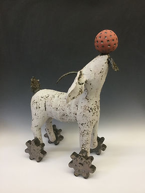 Goat on Wheels with Ball