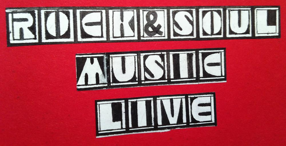 Pamband 80iger-design,Rock and Soul music live Schwarzweiss auf rotem Hintergrund