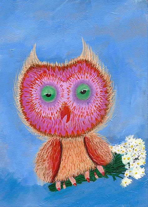 Phoebe Owl Painting