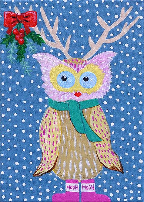 5x7 Miss Mistletoe Mary Owl Christmas Card with Envelope