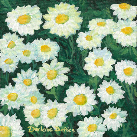 2 Daisy paintings - Time lapse video posted on Patreon 5-28-21