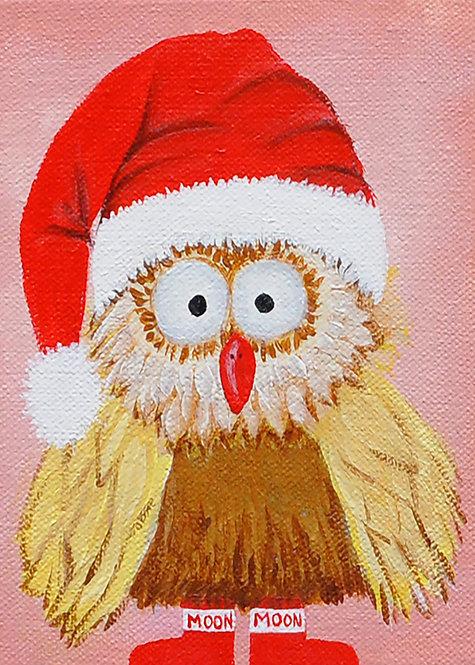 5x7 Santa Owl Christmas Card with Envelope