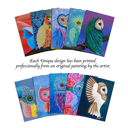 10-Pack Any Occasion Greeting Cards - Owl Series 6