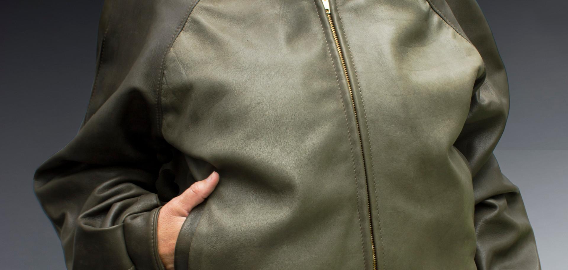 Two Toned Green Unisex Bomber Jacket