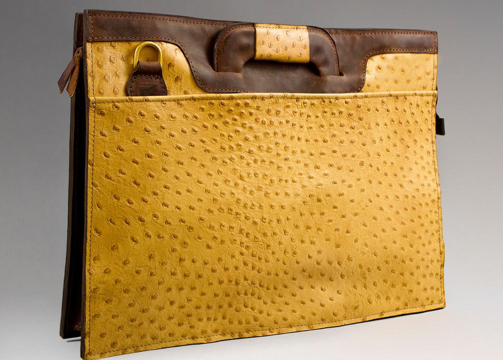 Ostrich Zip-Top Briefcase