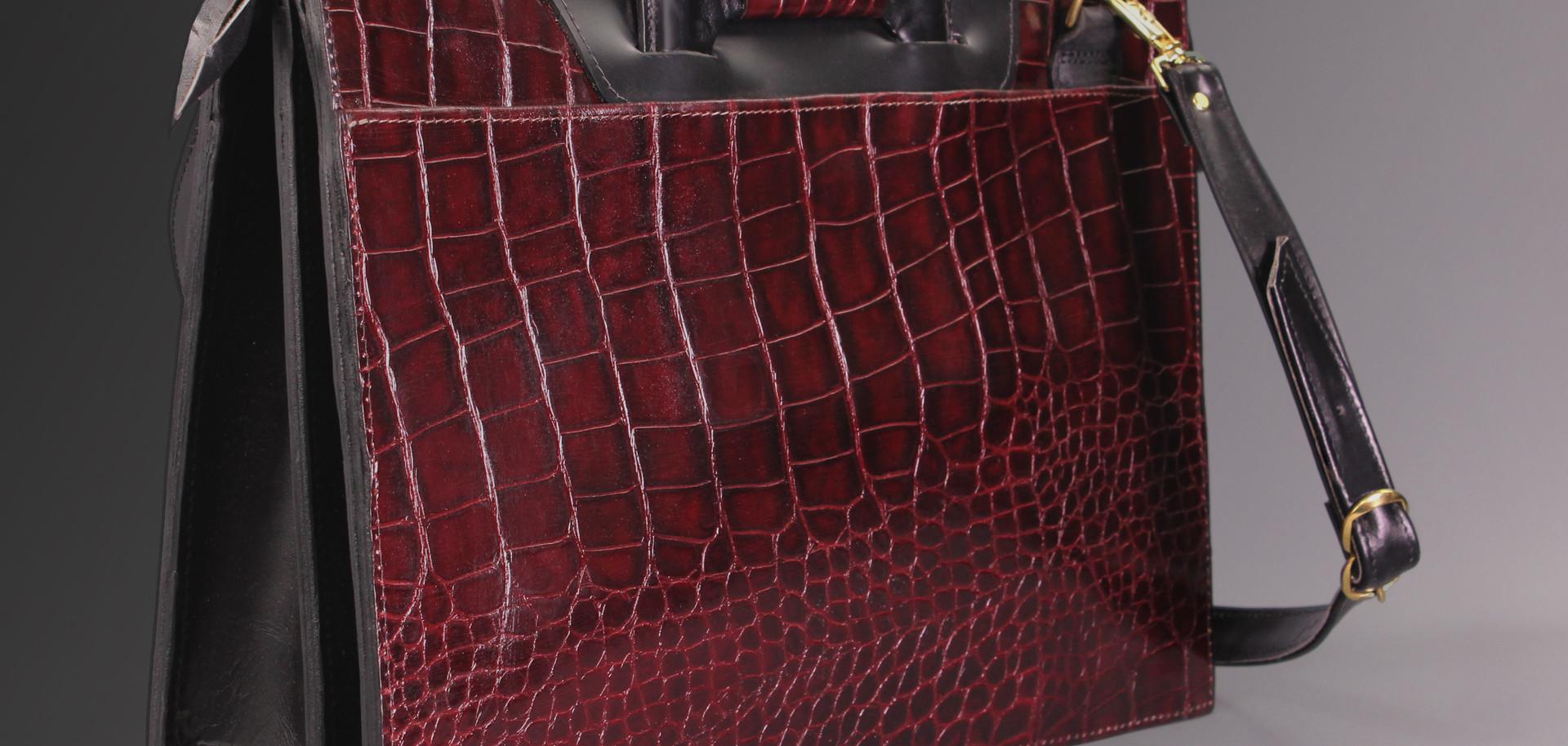 Burgundy Gator Zip-Top Briefcase