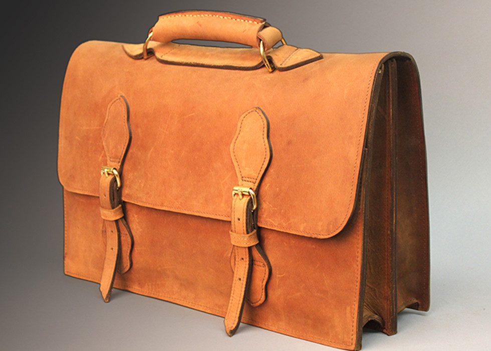 Tan Buffed Briefcase