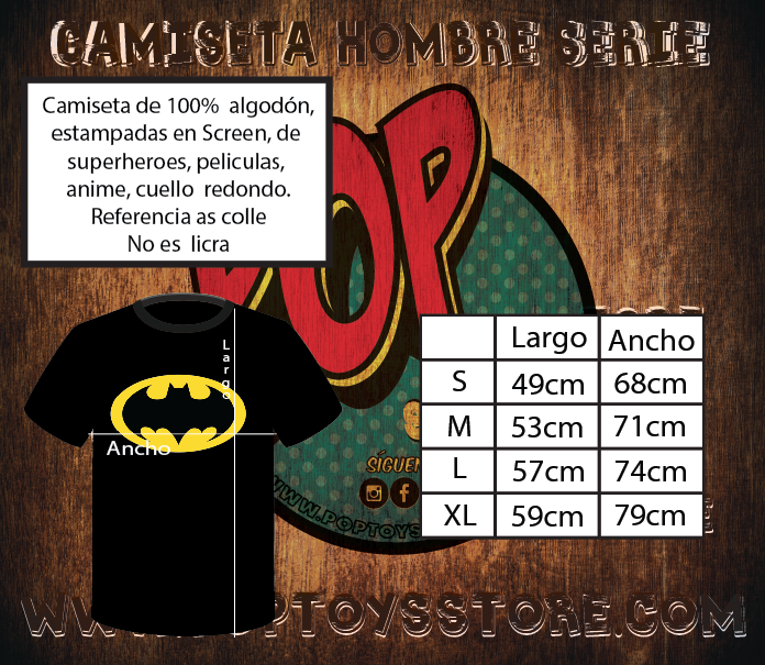 Tallaje Camisetas Screen hombre as colle