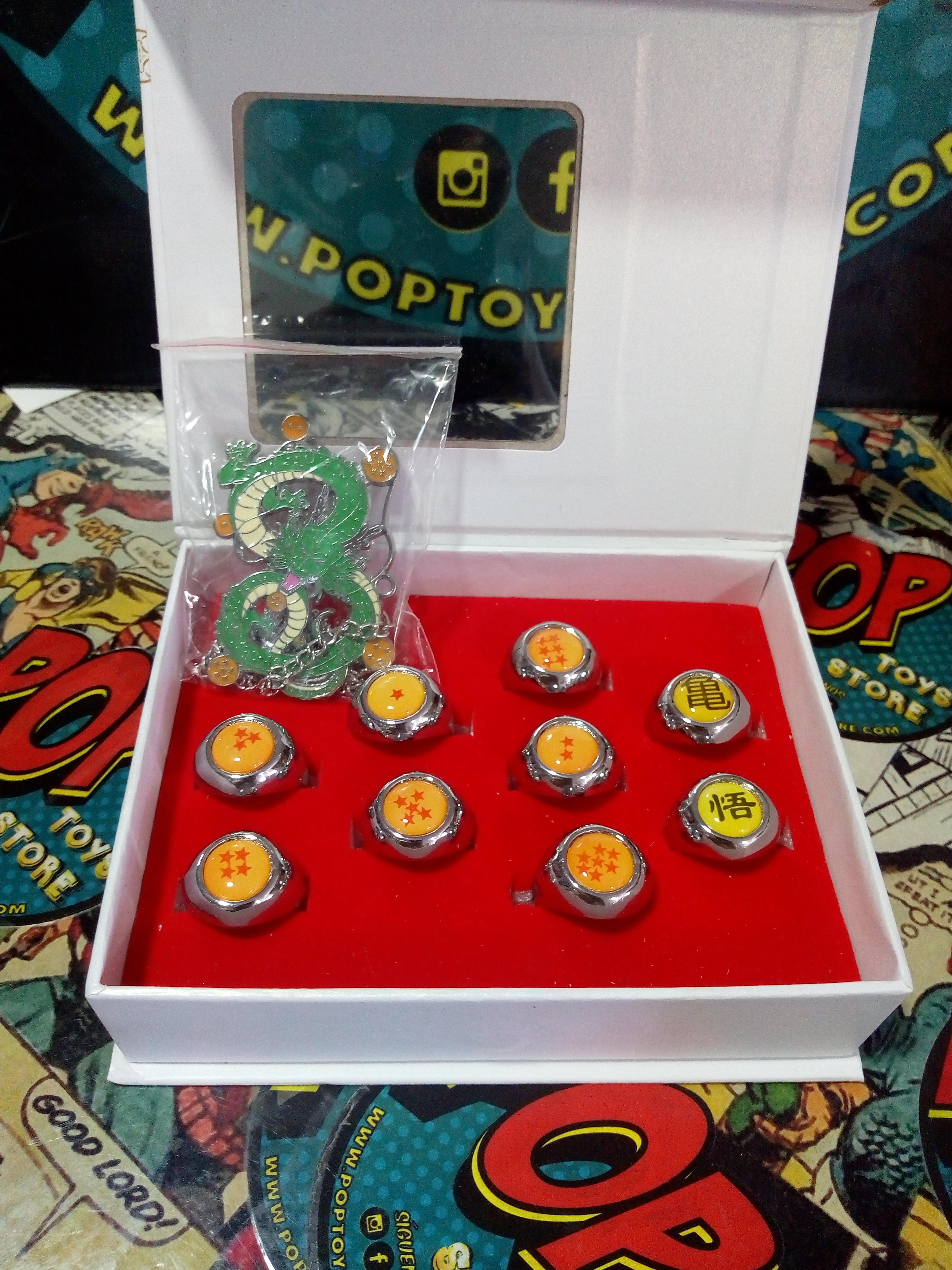 caja de Anillos Dragonball + cadena
