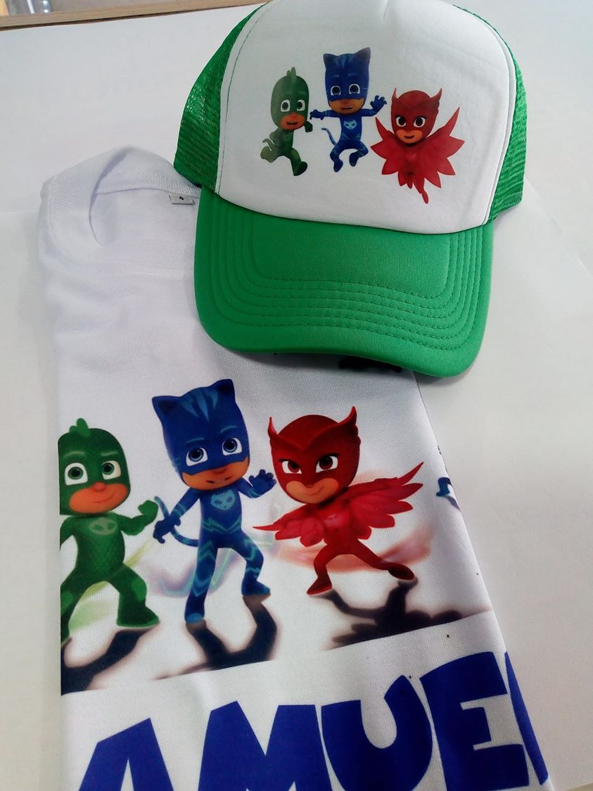 camiseta y gorra cumpleaños pjmask