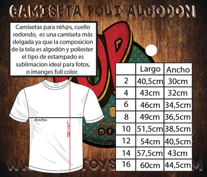 Tallaje camiseta polialgodon niño