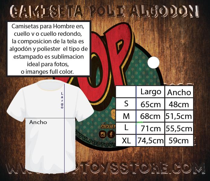 Tallaje camiseta polialgodon  hombre