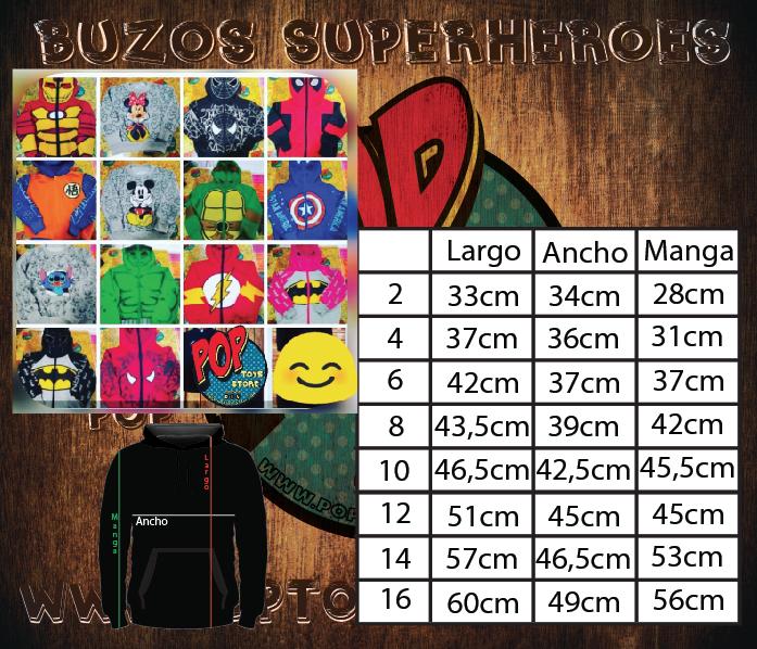 tallaje Buzos superheroes Niño
