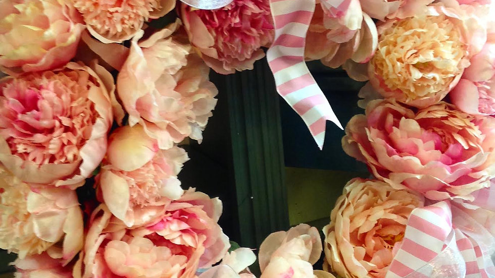 Peony and Roses Wreath