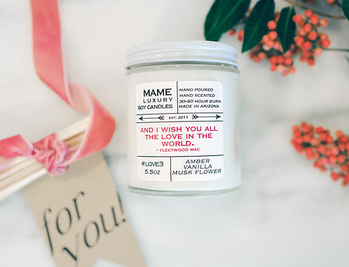 MAME Soy Candle - Amber, Vanilla, Musk Flower