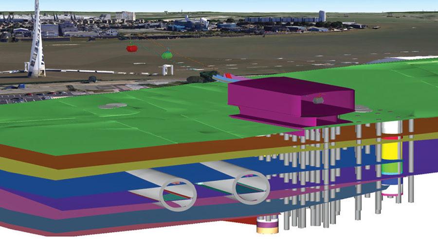 Modelo de las condiciones existentes en el sitio del proyecto para el túnel Silvertown en Londres