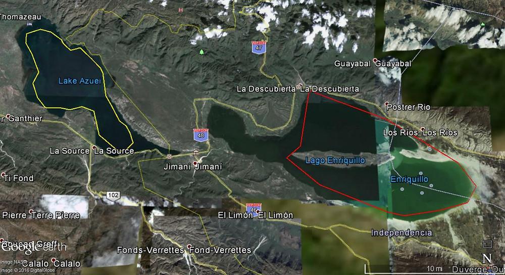 Mapa Zona Lago Enriquillo en año 2010