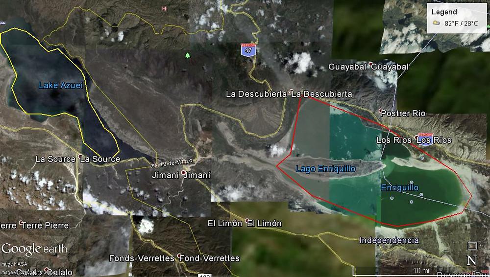 Mapa Zona Lago Enriquillo en año 2005