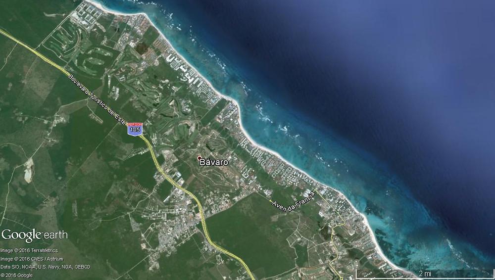 Mapa Satelital de la Zona de Bávaro