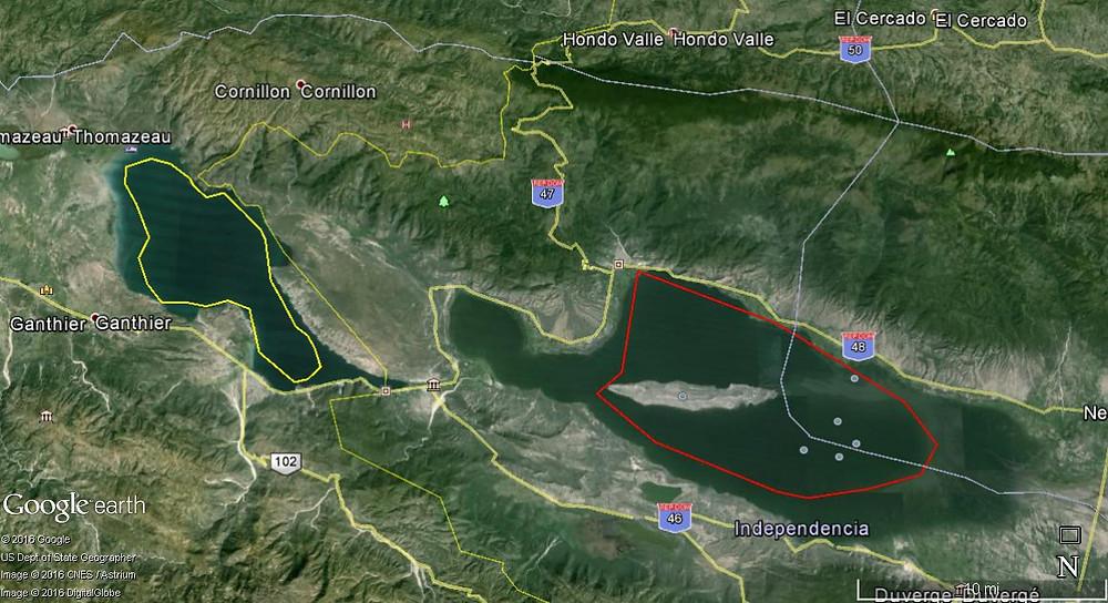 Mapa Zona Lago Enriquillo en año 2016
