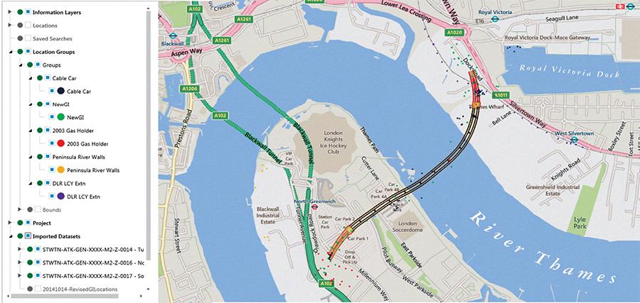 Sistema de Gestión de Datos Geotécnicos producido por el proyecto del túnel Silvertown en Londres
