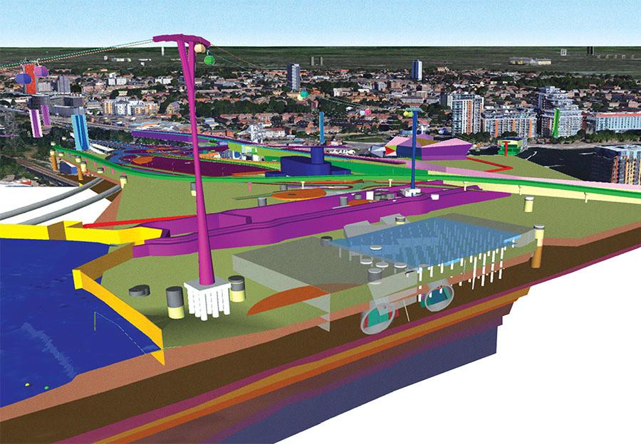 Modelo armado de las condiciones existentes del sitio de construcción del túnel Silvertown de Londres
