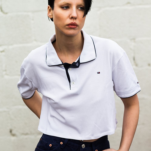 Up-cycled Tommy Hilfiger B&W Polo