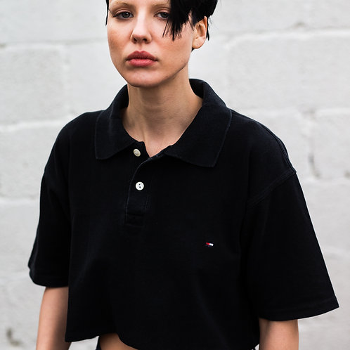 Up-cycled Tommy Hilfiger Black Polo