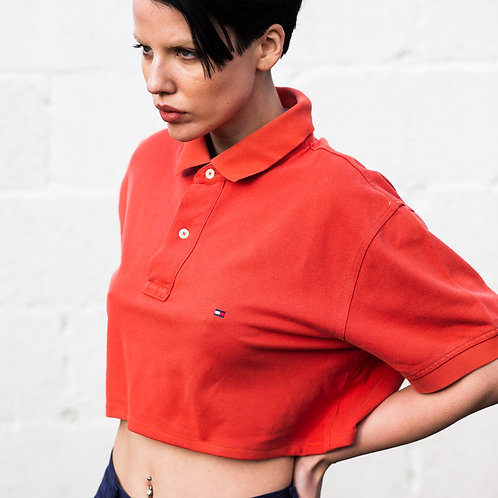 Up-cycled Tommy Hilfiger Orange Polo