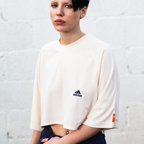 Adidas Beige Cropped Tee