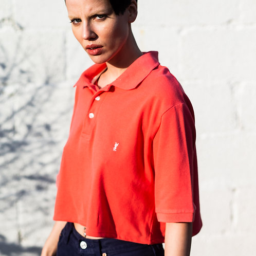 Up-cycled YSL Coral Cropped Polo