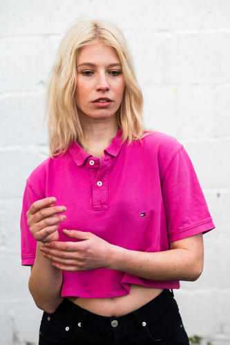 d5c6e9e667f Up-cycled Tommy Hilfiger Hot Pink Cropped Polo