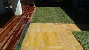 Sandstone pavers Merbau Deck and Sir Walter Turf lawn