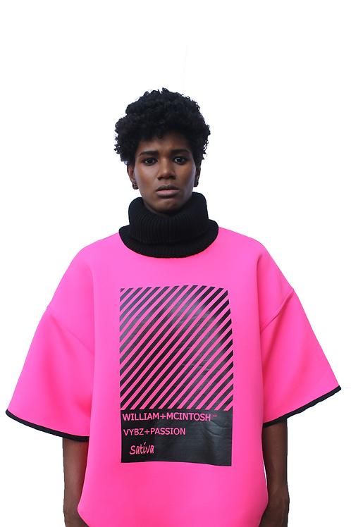 TURTLENECK BOX T-SHIRT - PINK /BLACK