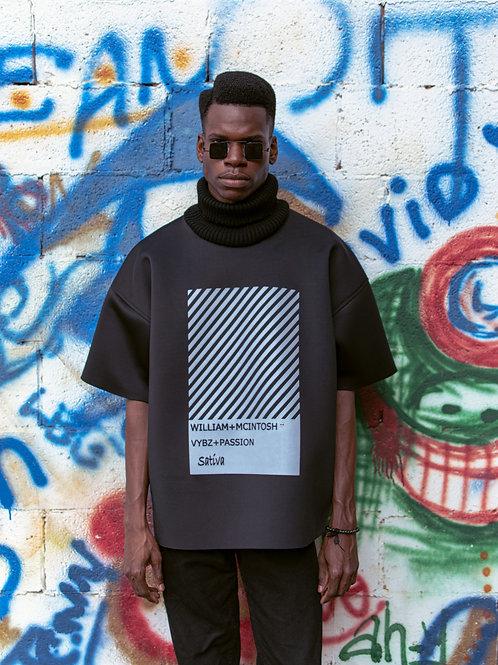 TURTLENECK BOX T-SHIRT -BLACK/WHITE