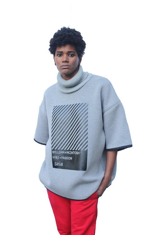 TURTLENECK BOX T-SHIRT - GREY