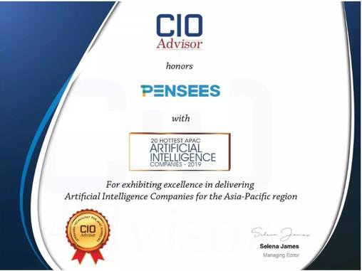 Going Global - Pensees Technology Co Ltd receives CIO Advisor 2019 Asia Pacific Hottest AI Company