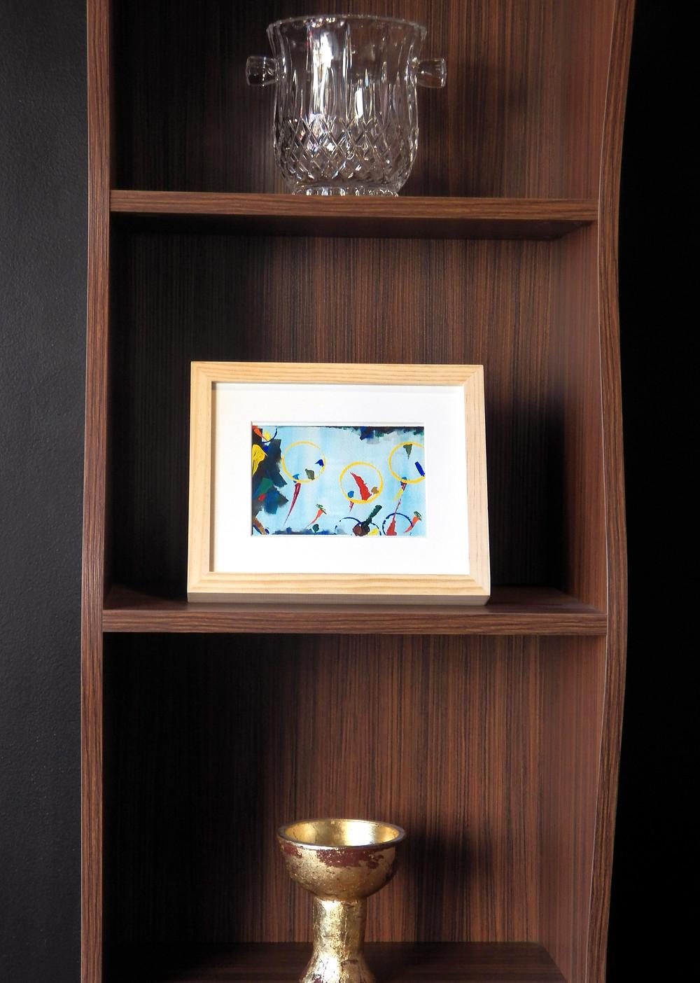 Bookshelf, Brown Bookshelf, Wooden Bookshelf, Interior Design, Abstract Painting