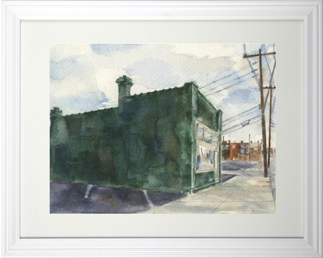 SOLD, ORIGINAL FREELANCE PAINTING GREEN BUILDING ON E LONG STREET