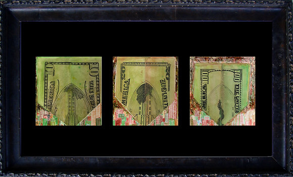 III Series Money Folded Twin Towers Art Déco