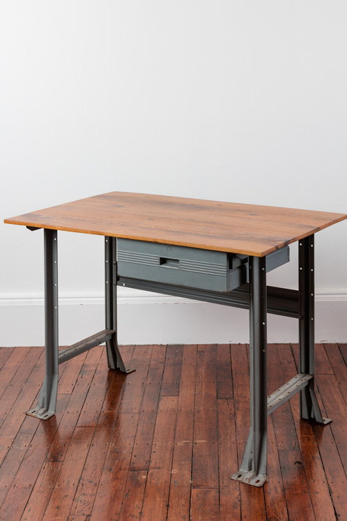 This Desk Is A Classic Example Of Vintage Industrial Design At Its Best.  The Reclaimed Desk Top Sits On Vintage Steel Stamp Hallowill Workbench Legs  And ...