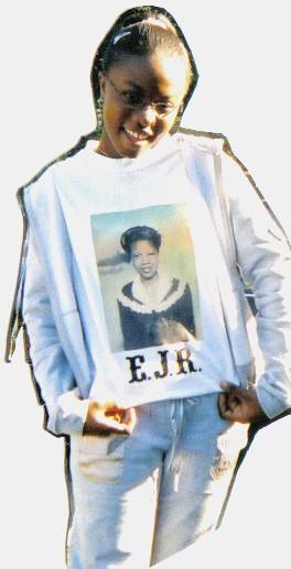 Megan wearing EJR T-Shirt