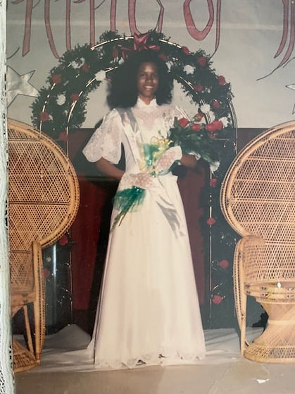 "Riché Richardson, age 16, in the Coronation Ball at St. Jude as 2nd Attendant to Miss Math; she had won the award for ""Most Outstanding Geometry Student"" the year before"