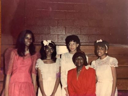 Riché Richardson, age 15, at Sweetheart's Ball at St. Jude as a sophomore, with friends Caprice Chattom, Dondra Prevo, Tangla Giles and Benise B. Brinson